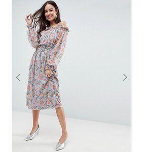 ASOS Bardot Printed Mesh Midi Dress W/ Belt sz 8
